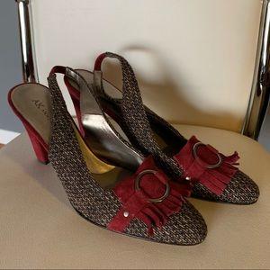 Anne Klein brown/burgundy slingback heels (6/$14)
